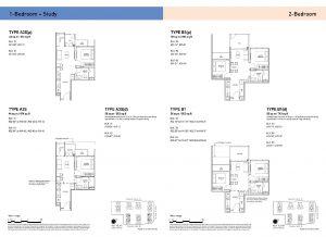 1-Bedroom + Study & 2-Bedroom Types