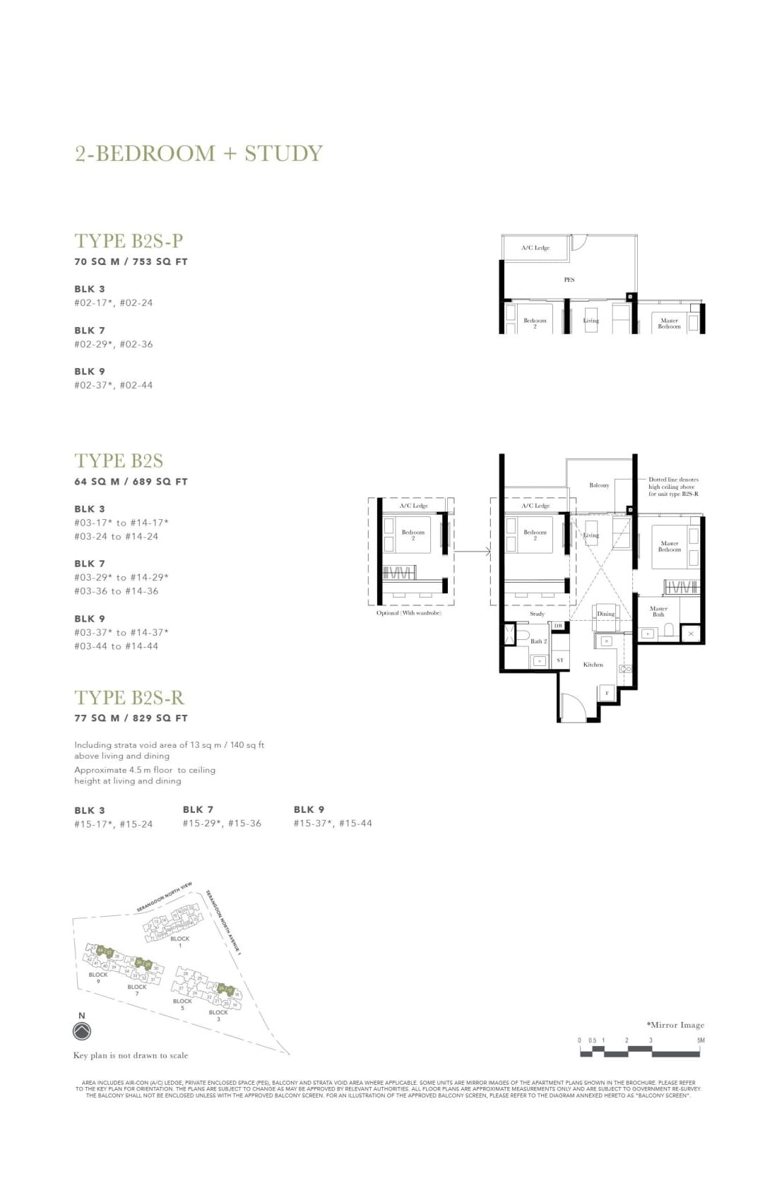 The Garden Residences' two-bedroom + study types