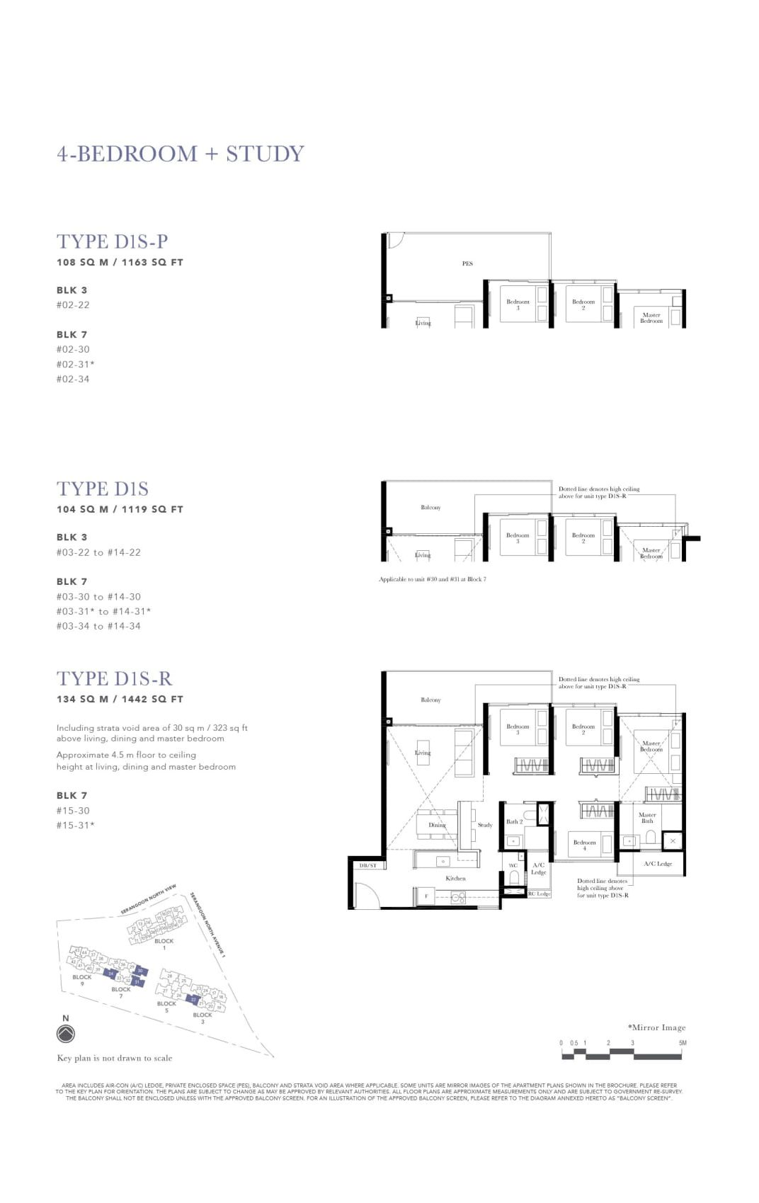 The Garden Residences' four-bedroom + study types