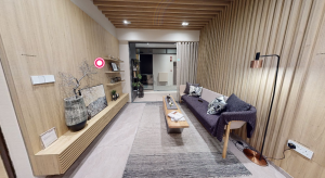 JadeScape condominium showflat two-bedroom living room