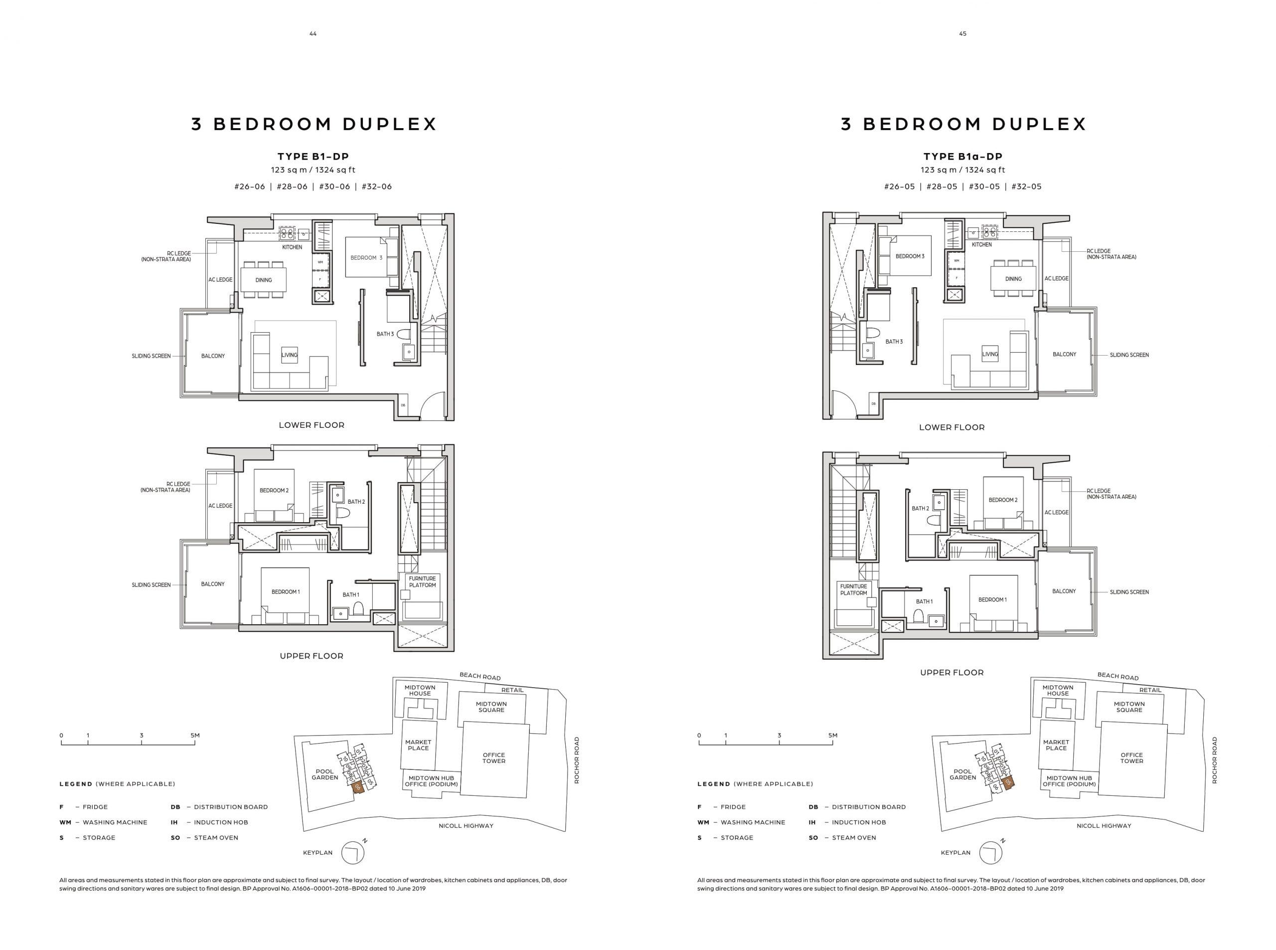 Midtown Bay's three-bedroom duplex types