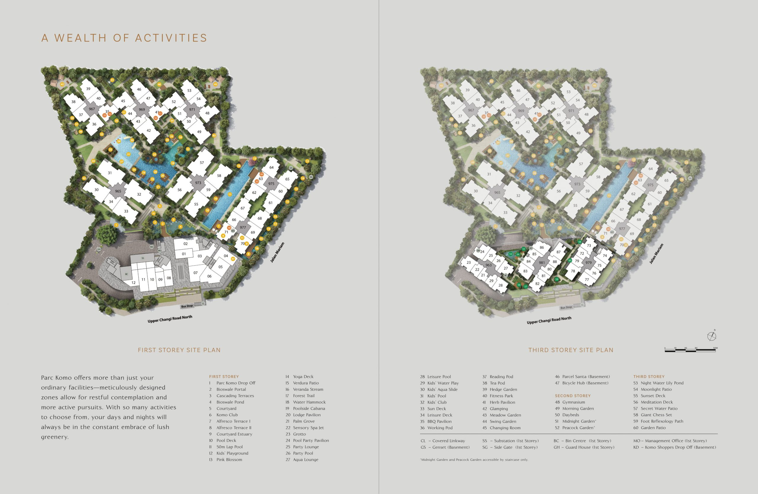 Parc Komo's site plan and facilities