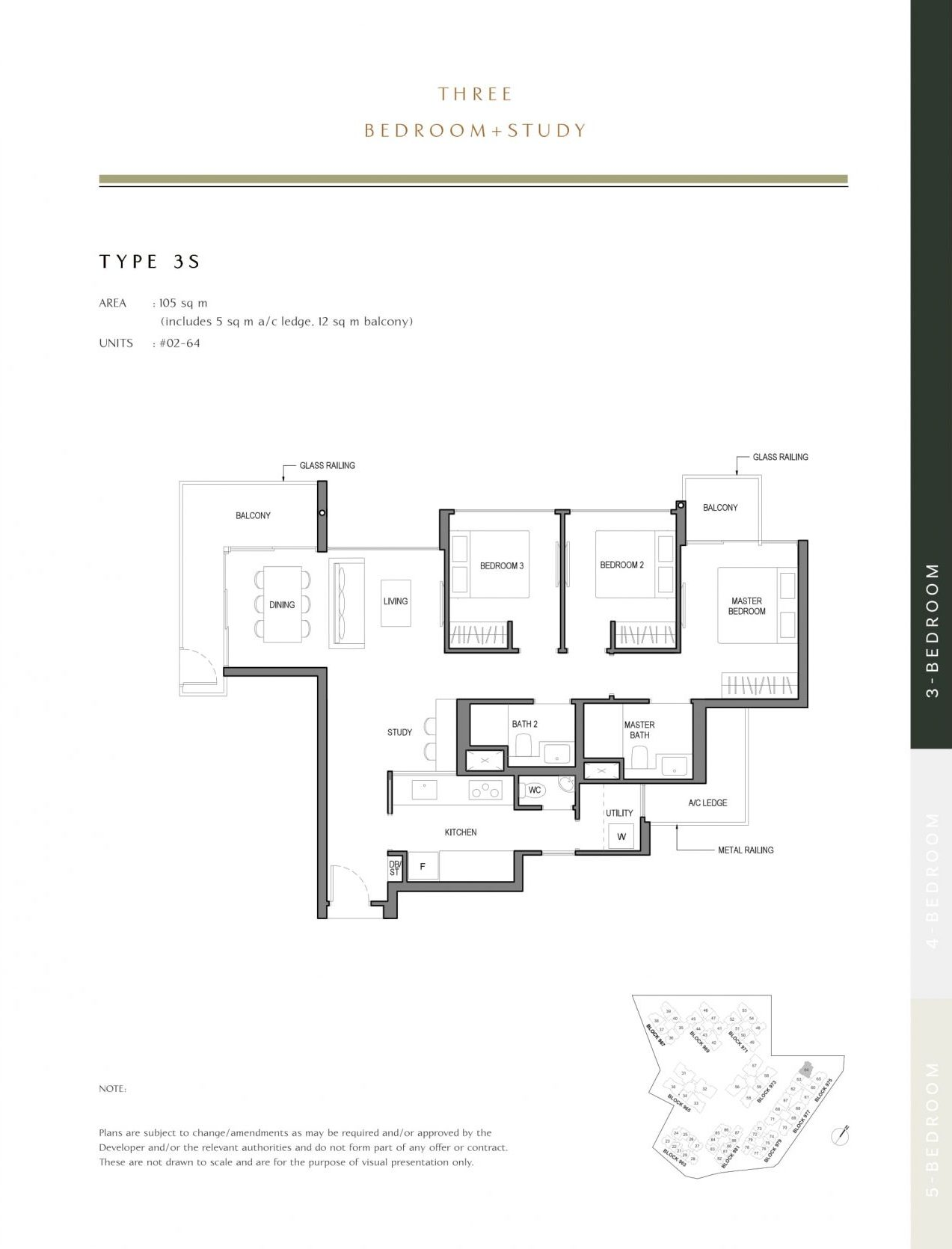 Parc Komo's three-bedroom + study type