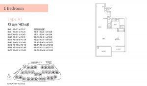 Treasure at Tampines One Bedroom Floor Plan