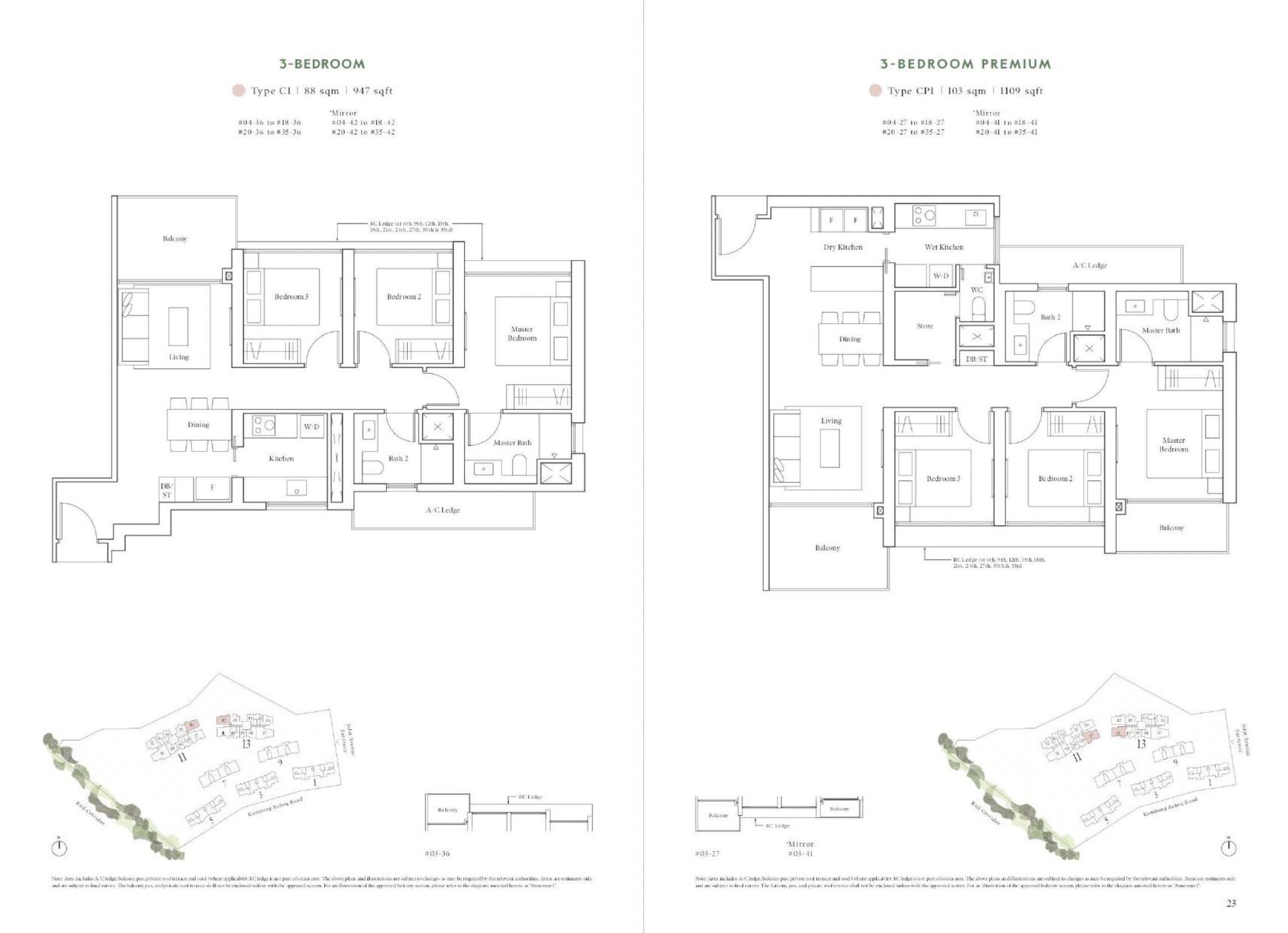 Avenue South Residence's Horizon Collection three-bedroom & three-bedroom premium types
