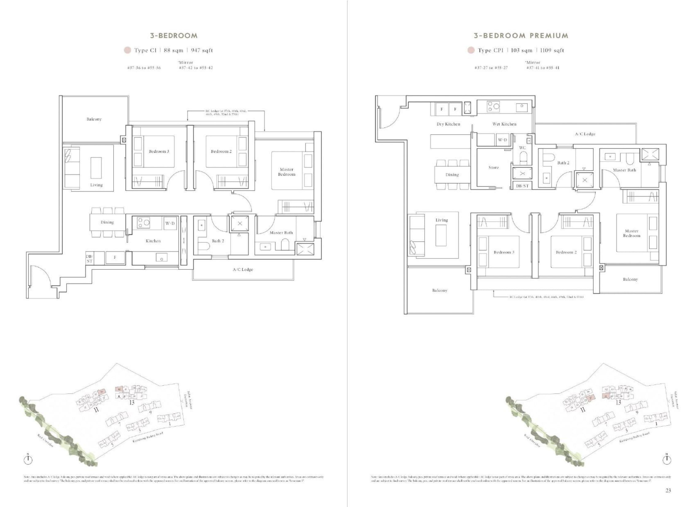 Avenue South Residence's Peak Collection three-bedroom & three-bedroom premium types